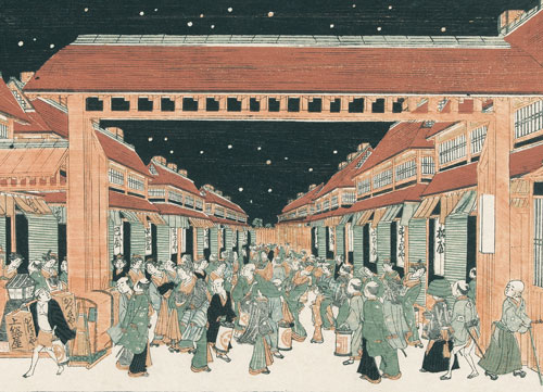 A color woodcut of a crowd of people, dressed in traditional Japanese clothing, milling on a street, going in and out of shops, looking in windows.