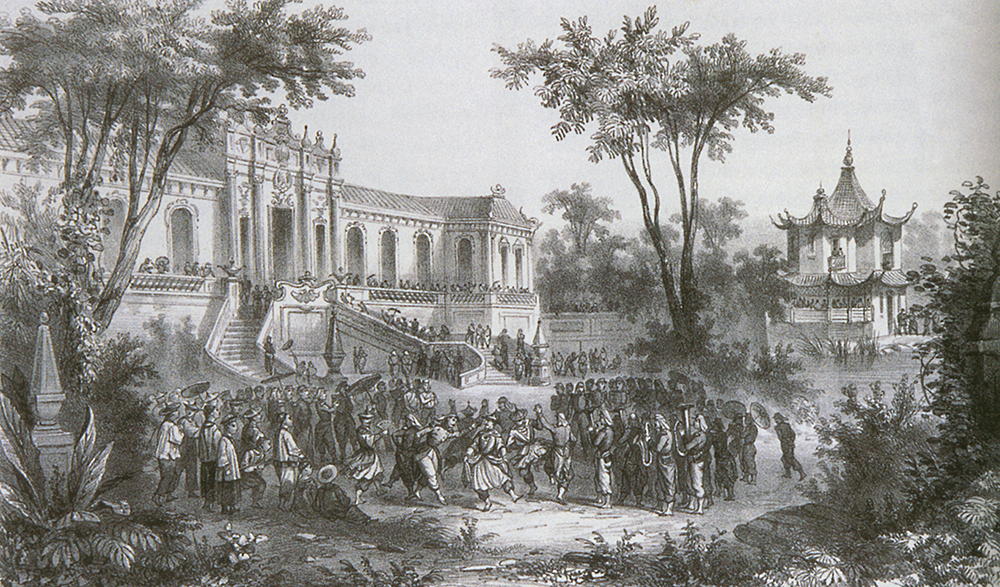 Illustration of the occupation of the Old Summer Palace by G.C. de Fortavion, an artist who accompanied the French high command, 1860. MIT Visualizing Cultures.