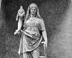 A sculpture of Fortuna.