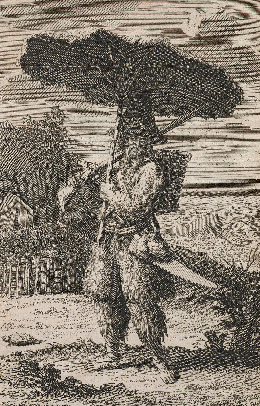 Robinson Crusoe, by Bernard Picart, 1720. British Library.