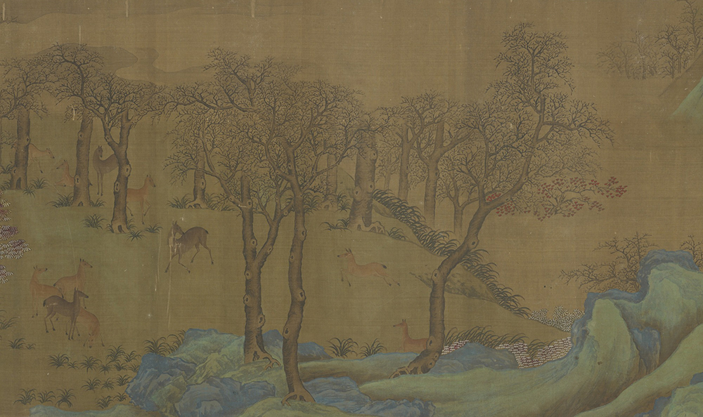 Autumn landscape with gibbons and deer, handscroll formerly attributed to Yi Yuanji, Ming dynasty, 1368–1644. Smithsonian Institution, National Museum of Asian Art, Gift of Charles Lang Freer.