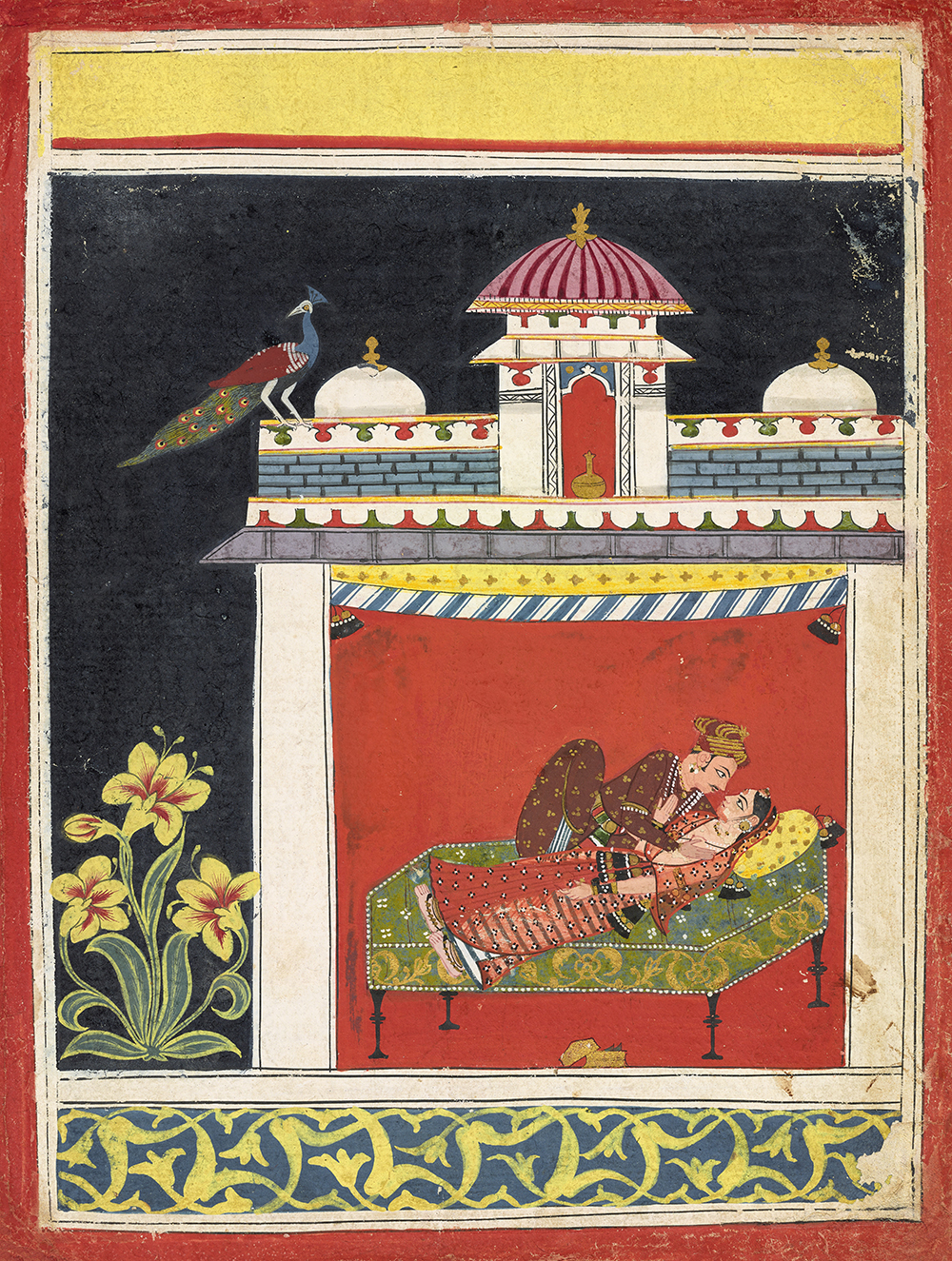 Two lovers in a pavilion, from an Amarushataka (Hundred poems of Amaru), or an unidentified erotic series, Malwa school, c. 1680.