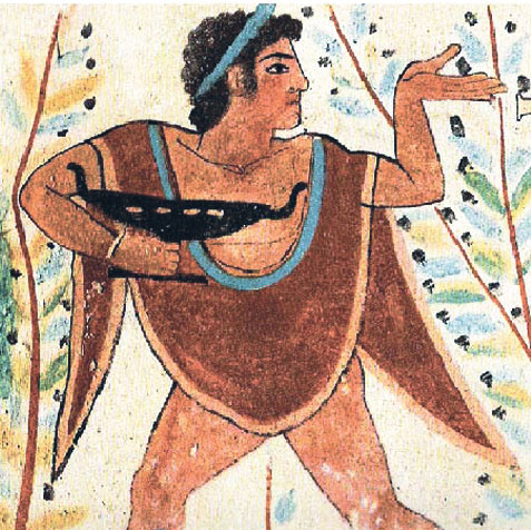 A depiction of a man wearing a tunic and holding a vessel.
