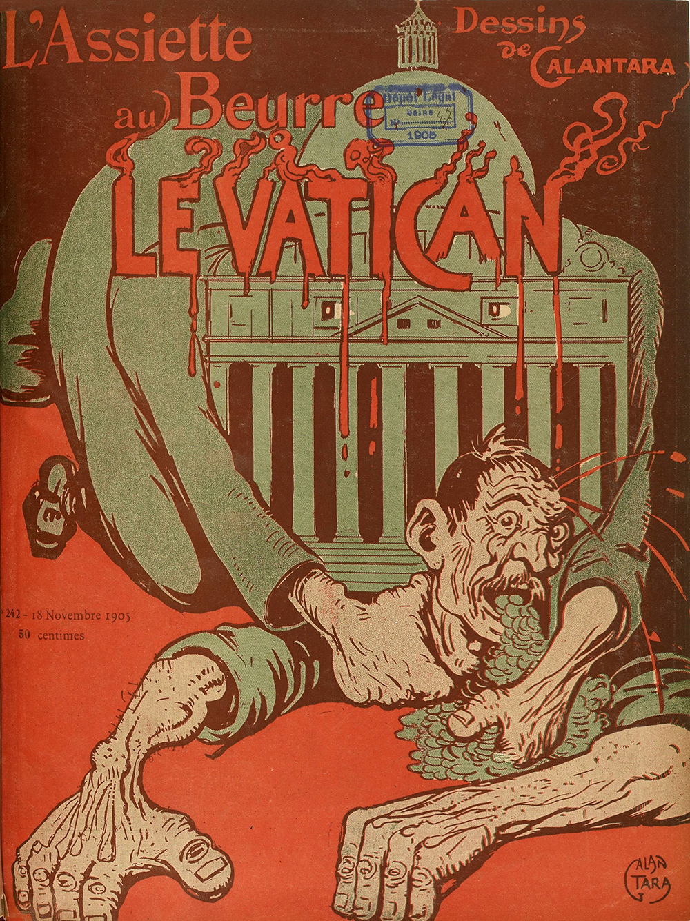 """Le Vatican,"" front page of L'Assiette au Beurre, by Gabriele Galantara, November 18, 1905. Wikimedia Commons."