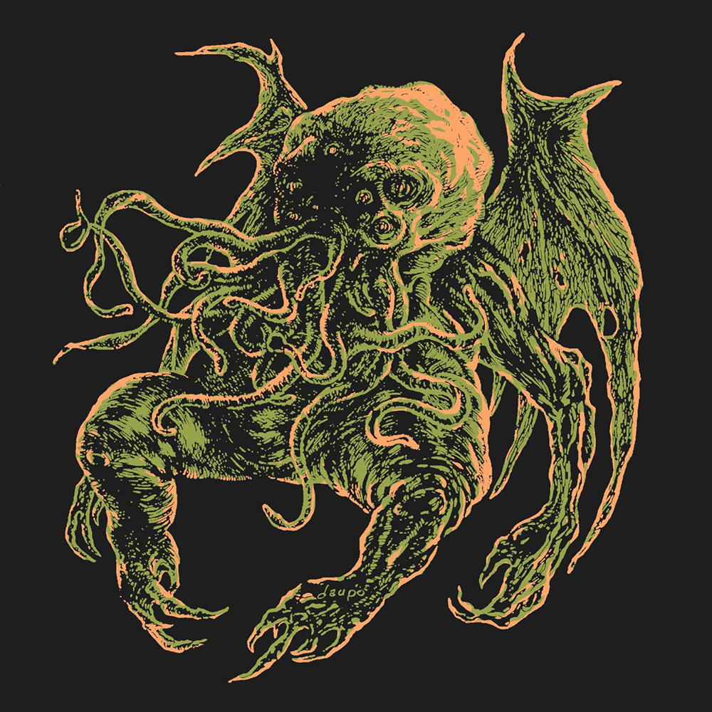 """Great Old One Cthulhu, though dead, still dreams,"" by David Gassaway, 2015. India ink, digitally colored."