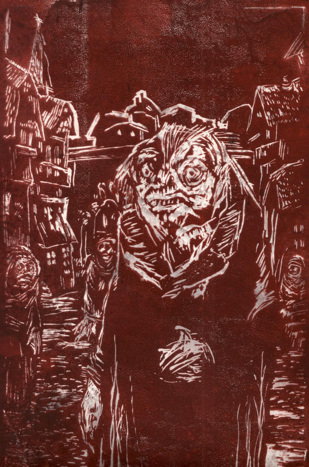 """The residents of the town of Innsmouth are notorious for a certain 'look,' which is the result of interbreeding with sea monsters,"" by David Gassaway, 2015. Acrylic monoprint."