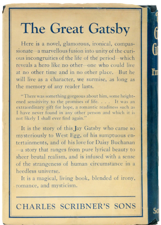 Back cover of the first edition of The Great Gatsby.