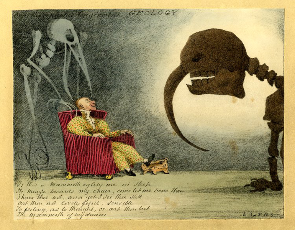 Geology: satire with a man sleeping in an armchair, dreaming as the skeleton of a bird stands over his head and a mammoth appears before him, 1840s. © The British Museum.