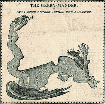 illustration of a map in the shape of a snake titled The Gerrymander