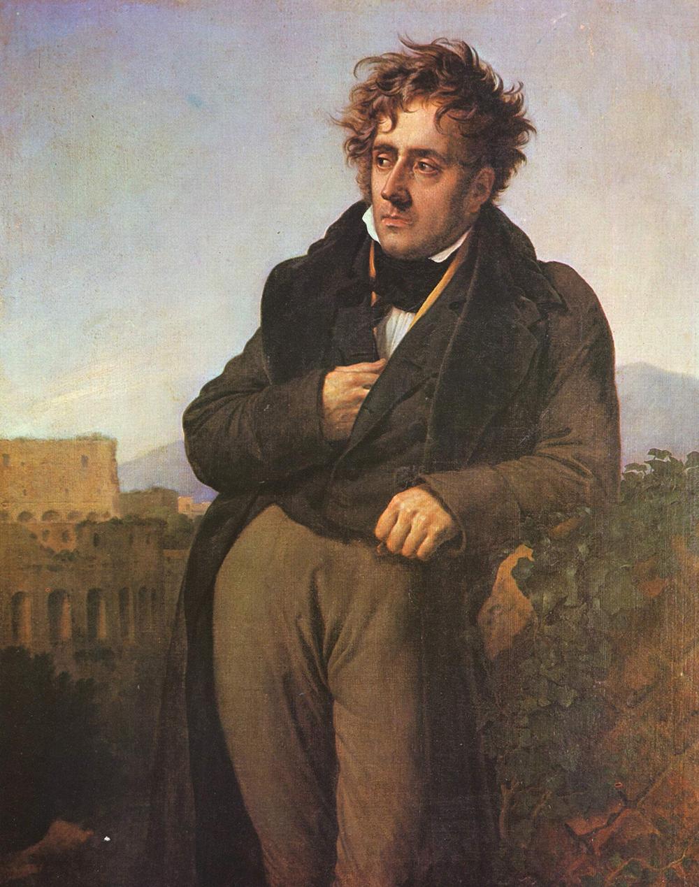 """""""Chateaubriand Meditating on the Ruins of Rome,"""" by Anne-Louis Girodet de Roucy Trioson, 1809. Musée d'Histoire de la Ville et du Pays Malouin."""