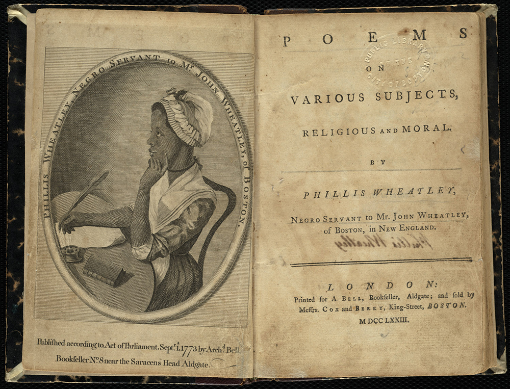 Title page and frontispiece from Poems on Various Subjects, Religious and Moral, by Phillis Wheatley, 1773. Boston Public Library, Rare Books & Manuscripts Department.