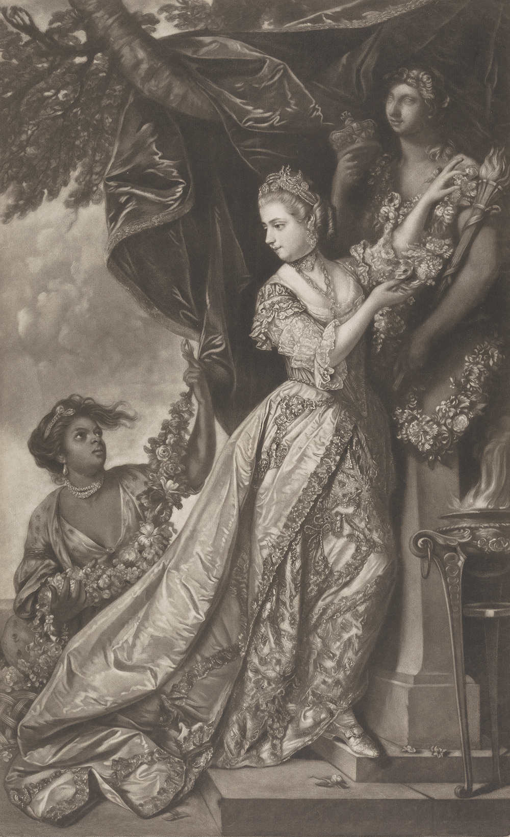 Lady Elizabeth Keppel and a Servant, by Edward Fisher, after Sir Joshua Reynolds, c. 1760. Yale Center for British Art, Paul Mellon Fund.