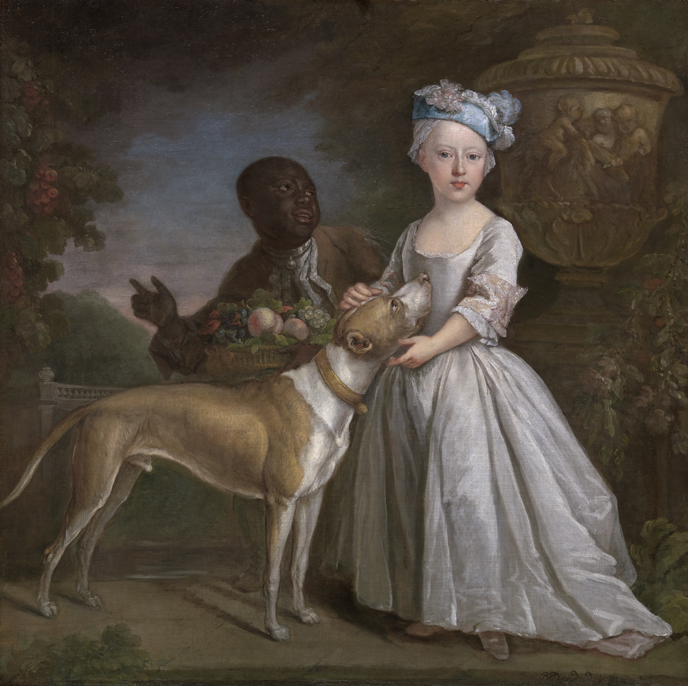 A Young Girl with an Enslaved Servant and a Dog, by Bartholomew Dandridge, c. 1725. Yale Center for British Art, Paul Mellon Collection.