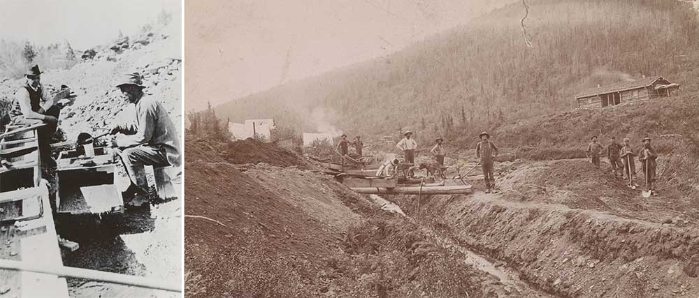 Left: Postcard showing Chinese miner with sluice box, nineteenth century. Right: Gold miners, El Dorado, California, c. 1848.