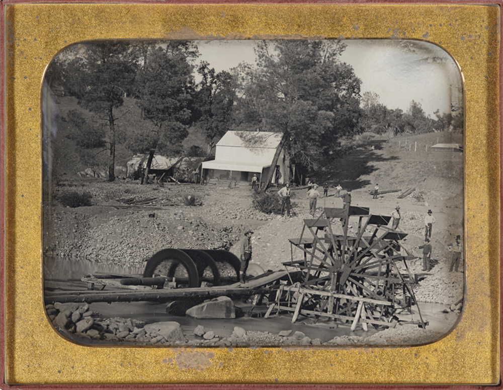 River mining, North Fork, American River, California, half-plate daguerreotype, by George H. Johnson, c. 1850–55. The Nelson-Atkins Museum of Art.