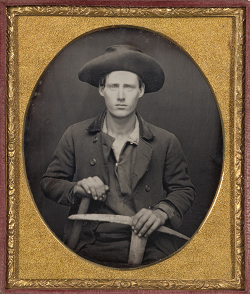 Portrait of a California gold miner with pick and shovel, sixth-plate daguerreotype, c. 1850. The Nelson-Atkins Museum of Art.