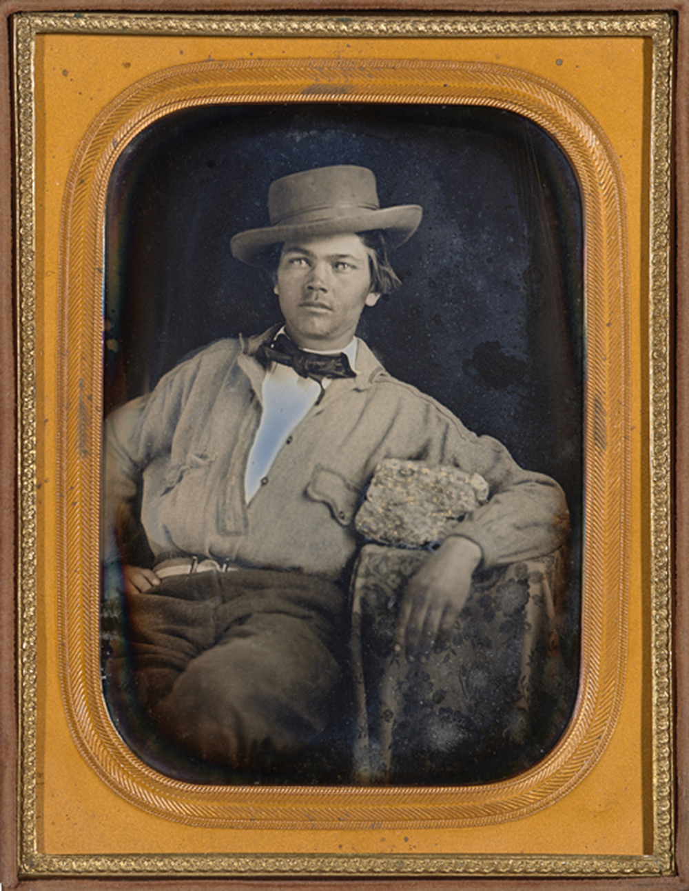 California gold miner with gold ore, quarter-plate daguerreotype, by James M. Ford, c. 1855. The Nelson-Atkins Museum of Art.