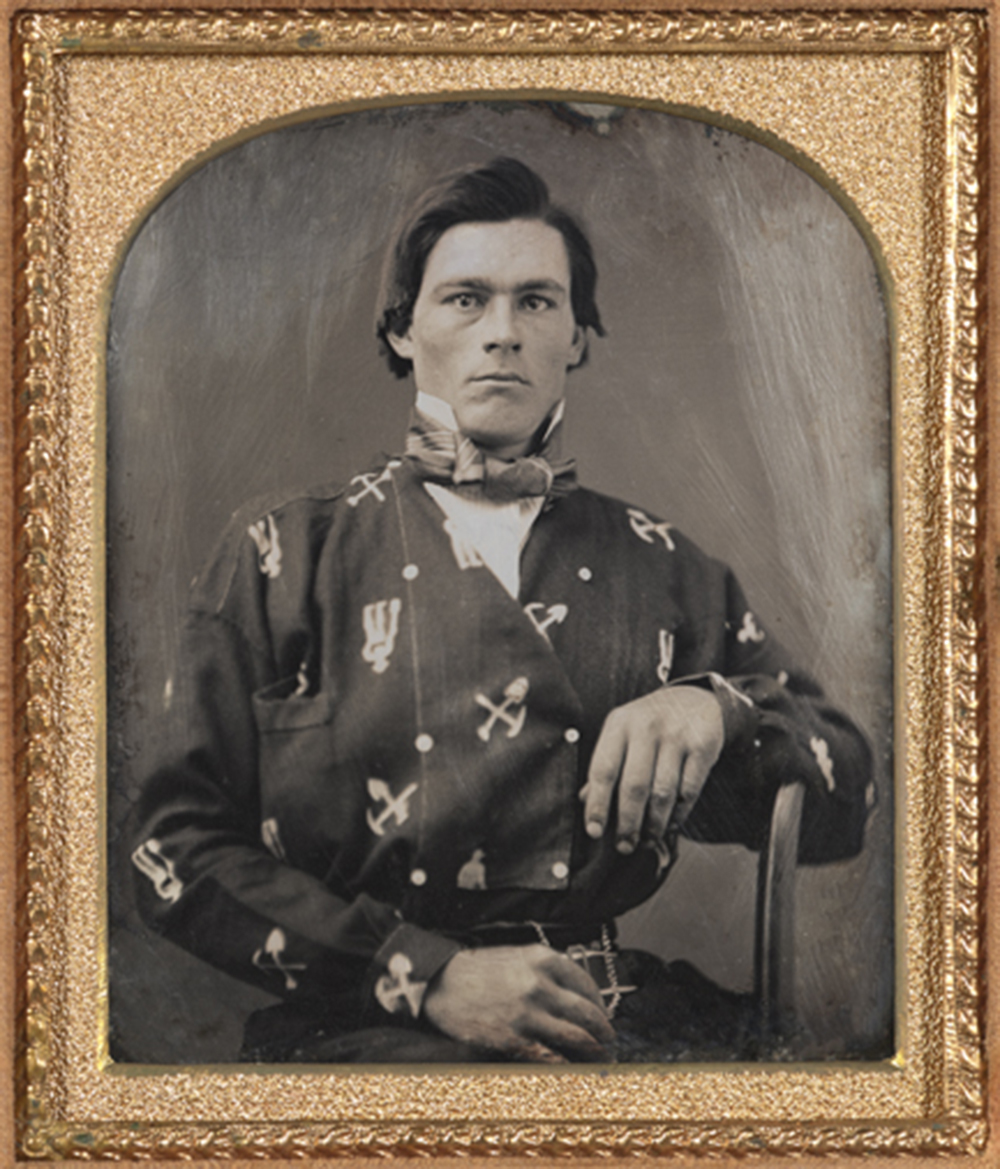 Portrait of Lyman Alvinson Rundell in mining-themed shirt, sixth-plate daguerreotype, c. 1855. The Nelson-Atkins Museum of Art.