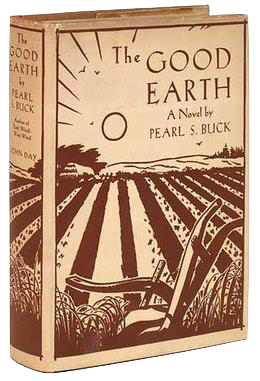 Cover of the book The Good Earth, brown printing on a beige background shows a plowed field and a rising sun.