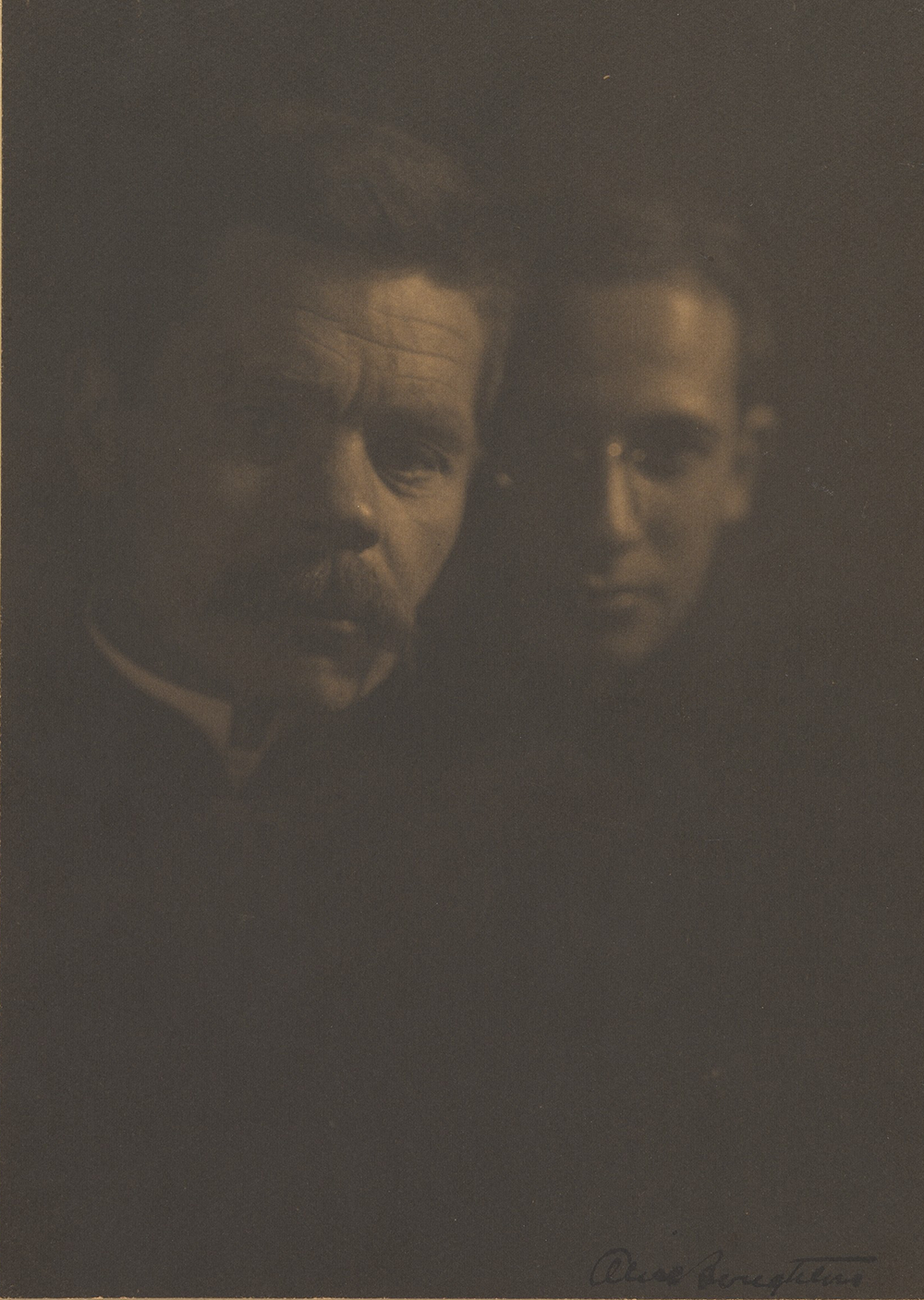 """Alice Boughton, """"Maxim Gorky and Zena Peschkoff, His Adopted Son,"""" ca. 1910. The Metropolitan Museum of Art, Gift of Miss Elma Loines, 1961."""