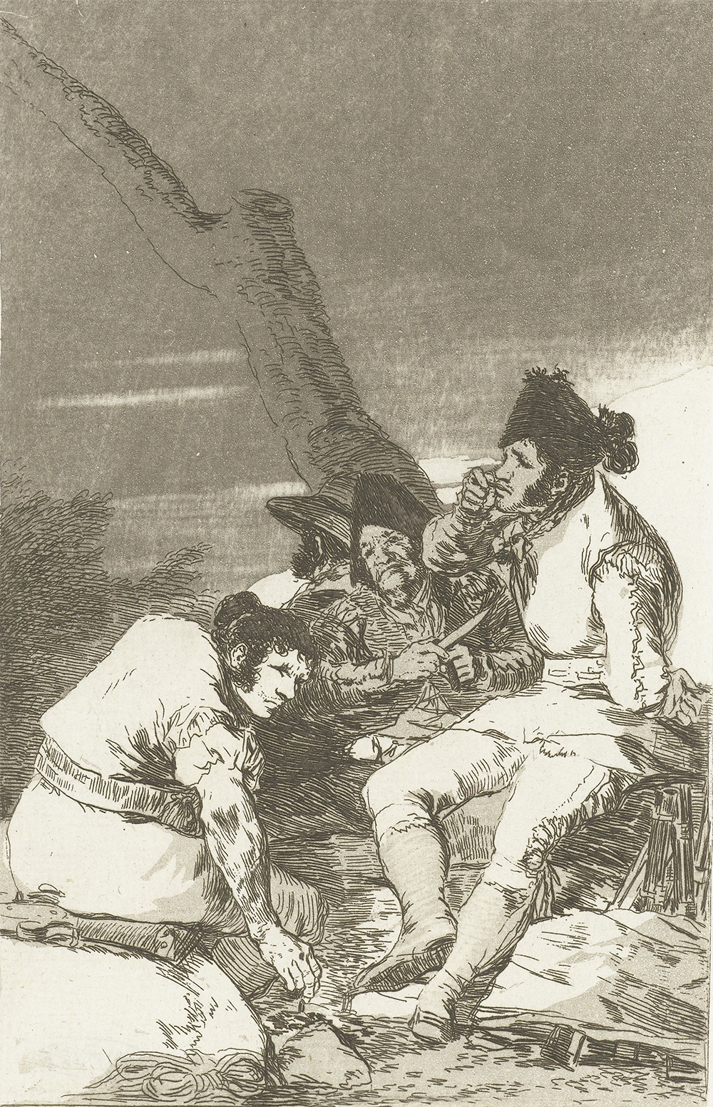 Four smugglers waiting at a tree, from the Los Caprichos series, by Goya, c. 1797–99. Rijksmuseum.
