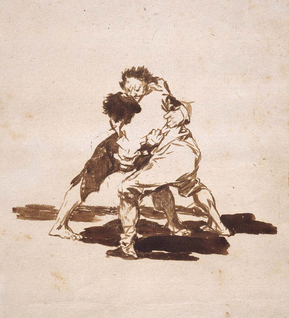 """""""Two Men Fighting,"""" from Album F (Images of Spain Album), by Goya, 1812–20. Museum of Fine Arts, Boston, bequest of Eleanor A. Sayre."""