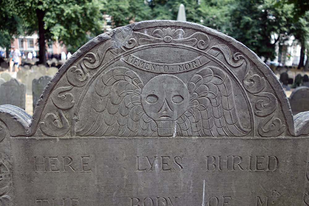 A gravestone at Granary Burying Ground in Boston, 2016. Photograph by Allison C. Meier.