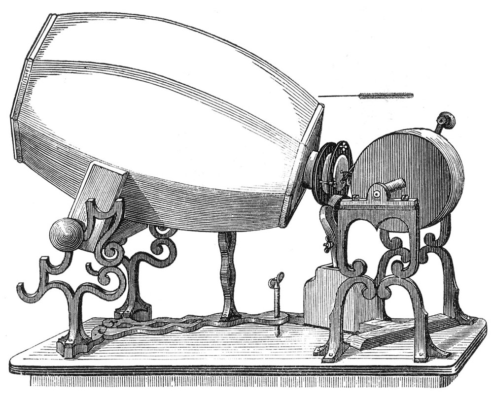 1859 model of Édouard-Léon Scott de Martinville's phonautograph.