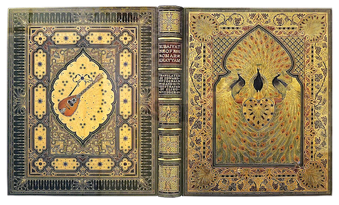 The so-called Great Omar, an ornately jeweled edition of The Rubáiyát of Omar Khayyám featuring three peacocks.