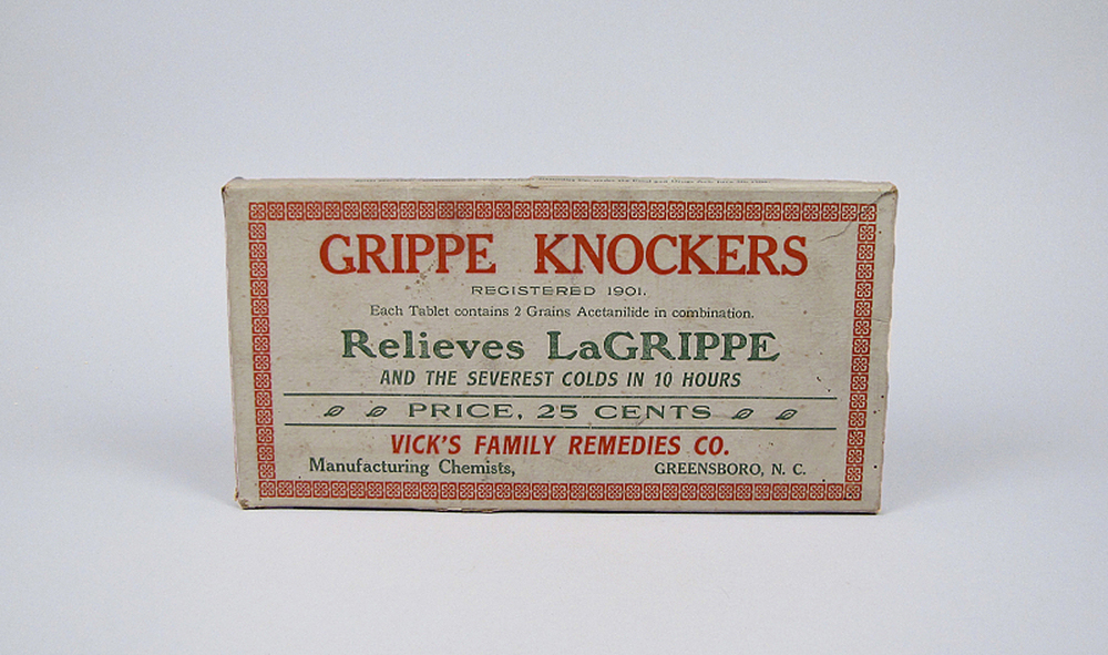 Grippe Knockers, Vick's Family Remedies Company, c. 1918. National Museum of American History.