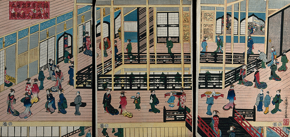 Interior of Iwakame House, by Ichijusai Yoshikazu, 1860. Wellcome Collection.