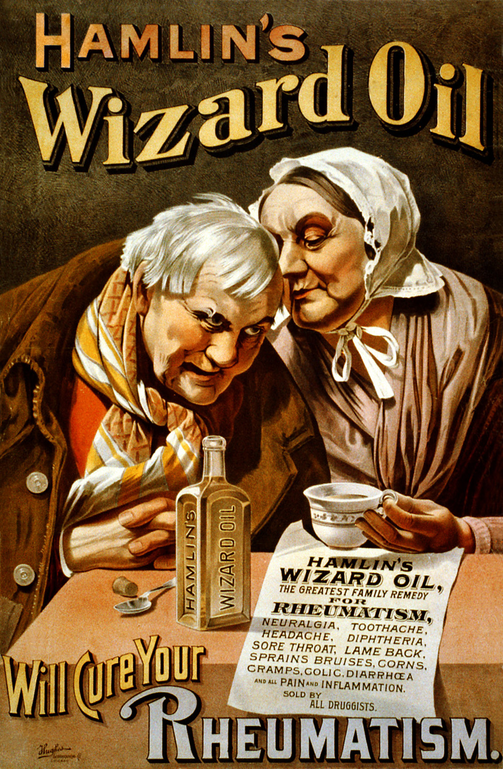 Hamlin's Wizard Oil advertisement by Hughes Lithographers, 1890.