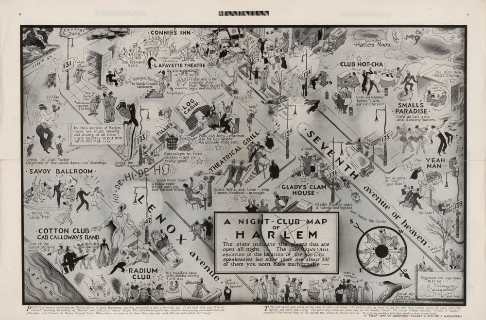 A hand-drawn map of Harlem showing the locations of nightclubs.