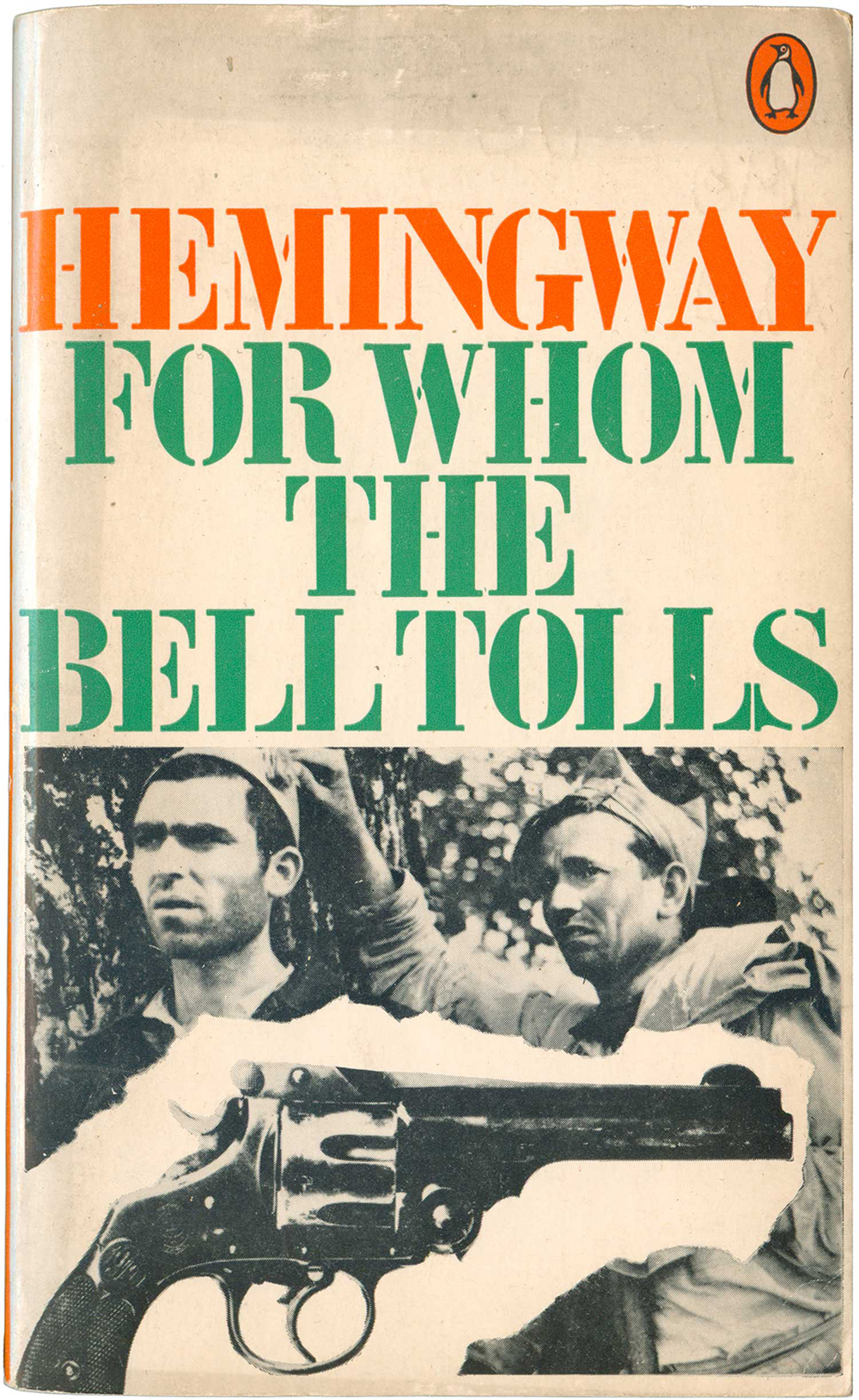 """""""For Whom the Bell Tolls"""" by Ernest Hemingway. Penguin Books, 1970. Cover design by David King."""
