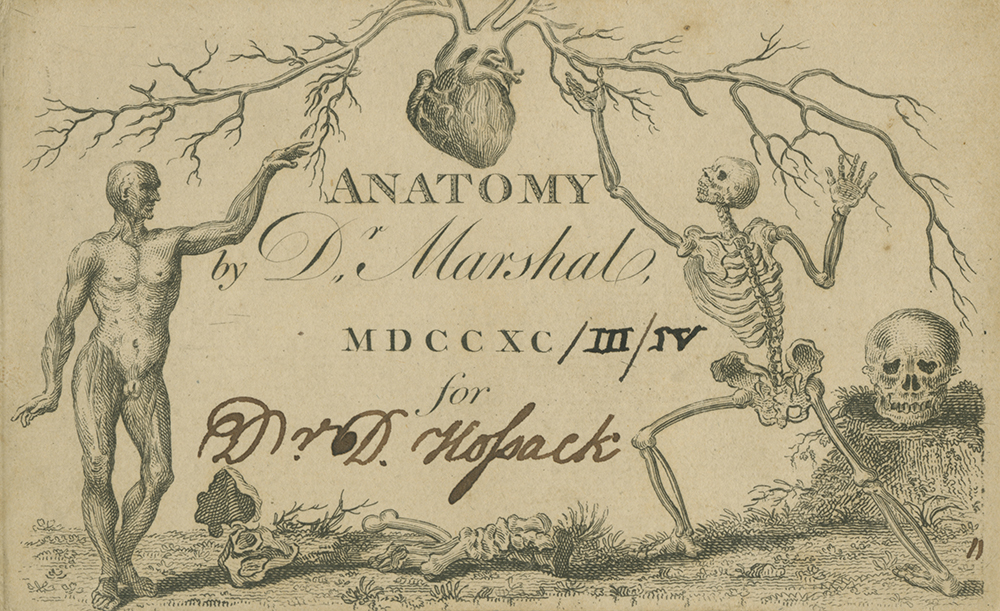 David Hosack's admission card to Andrew Marshal's anatomy course, 1793–94 (C-000199). Courtesy of Columbia University Health Sciences Library, Archives and Special Collections.