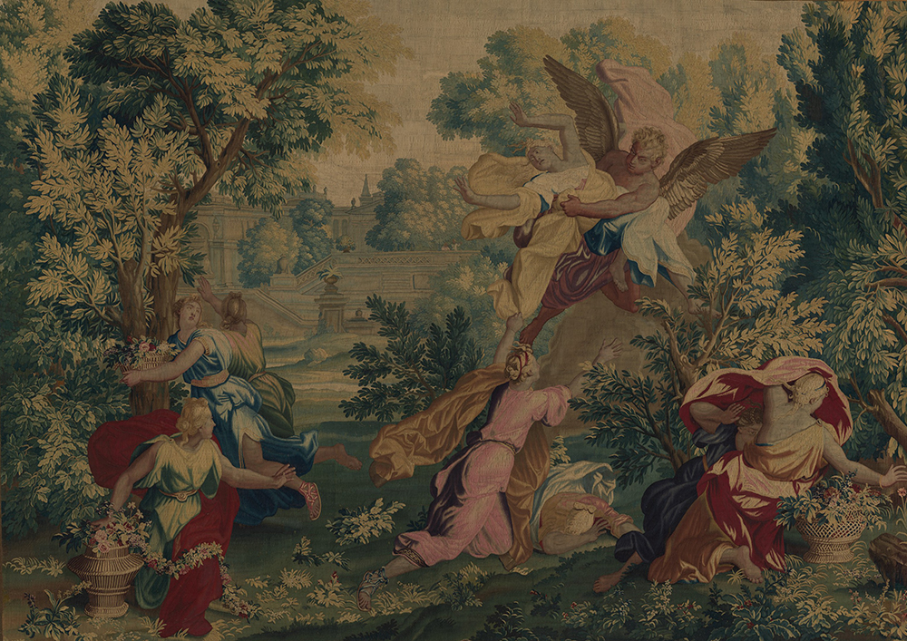 Boreas and Orithyia from a set of scenes from Ovid's Metamorphoses, tapestry by René Antoine Houasse, designed c. 1690, woven before 1730. The Metropolitan Museum of Art, Gift of Frances L. Kellogg, 1977.