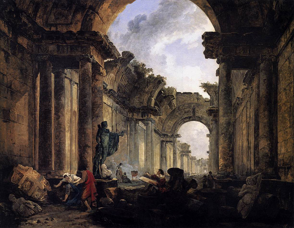 Imaginary View of the Grande Galerie in the Louvre in Ruins, by Hubert Robert, 1796. Wikimedia Commons, Louvre Museum.
