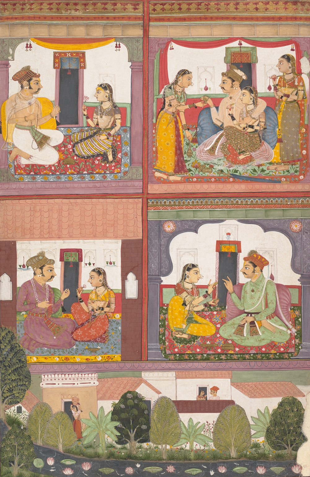 Four Love Scenes and a Landscape, page from a dispersed Raskapriya, c. 1700. The Metropolitan Museum of Art, Rogers Fund.