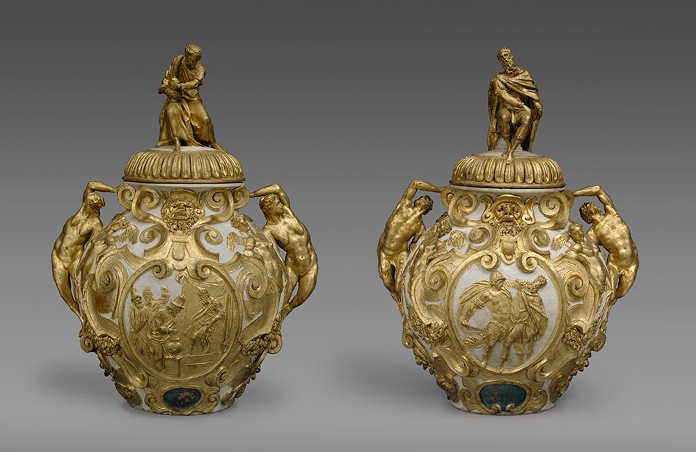 Jars for the cure-all drugs mithridatum and theriac, attributed to Annibale Fontana, c. 1580