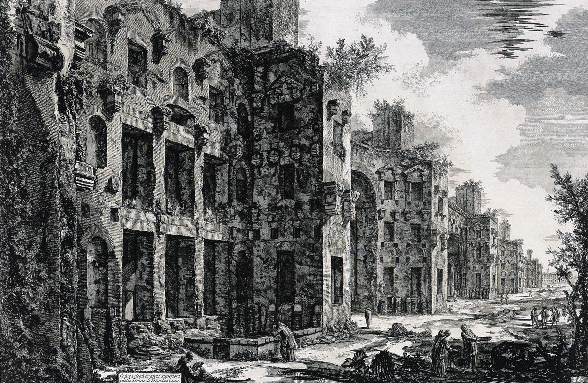 A View of the Upper Parts of the Ruins of the Baths of Diocletian, by Giovanni Battista Piranesi, 1774.