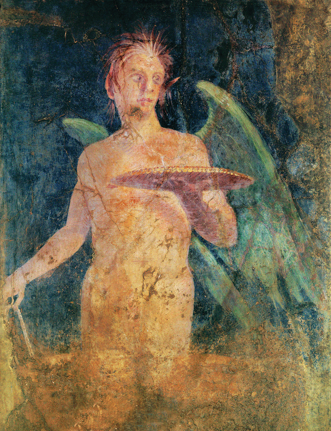 Winged Genius, fresco in Boscoreale, Italy, first century BC. Louvre Museum, Paris, France.