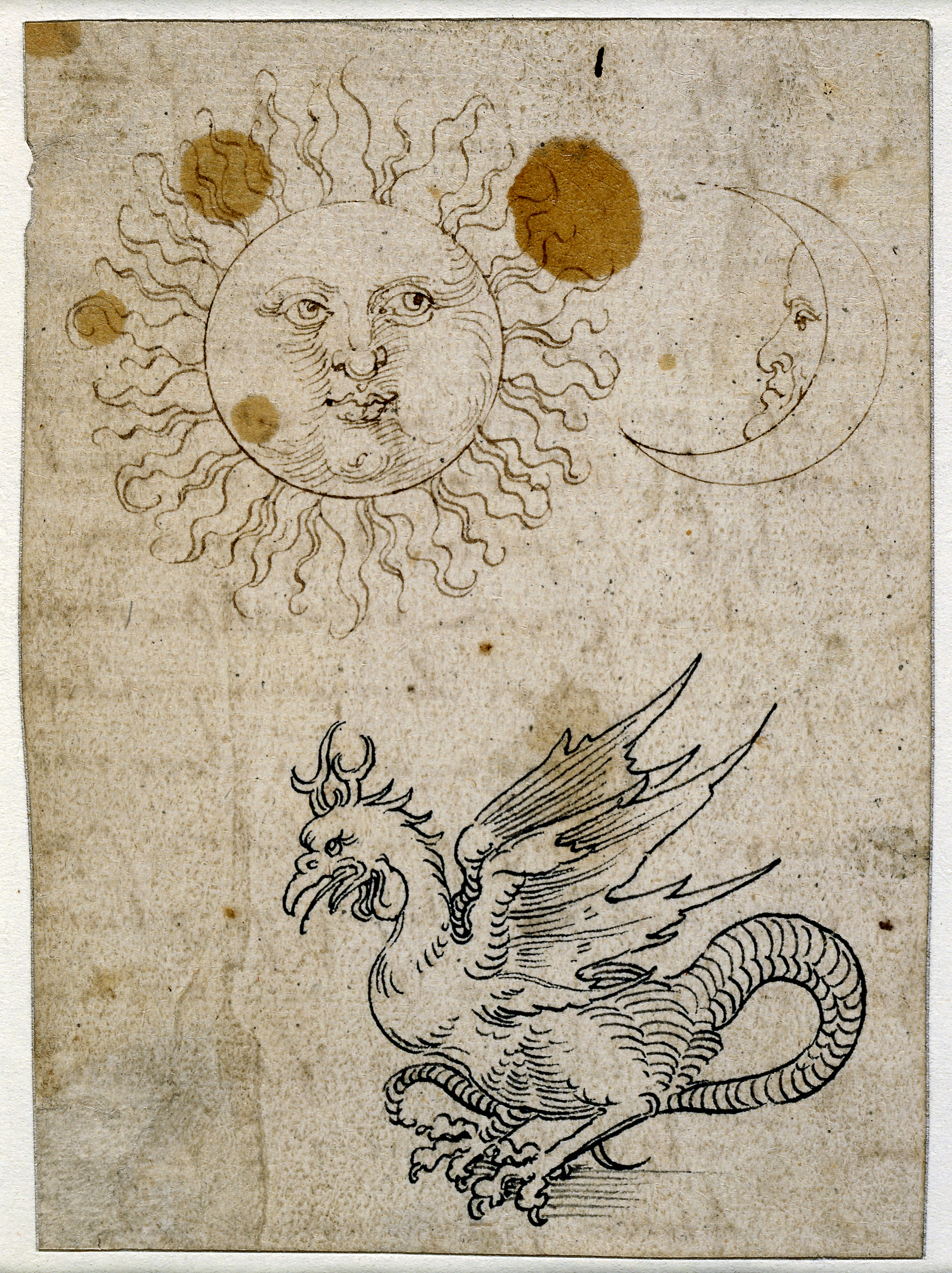 Pen and ink drawing of the sun and a dragon.