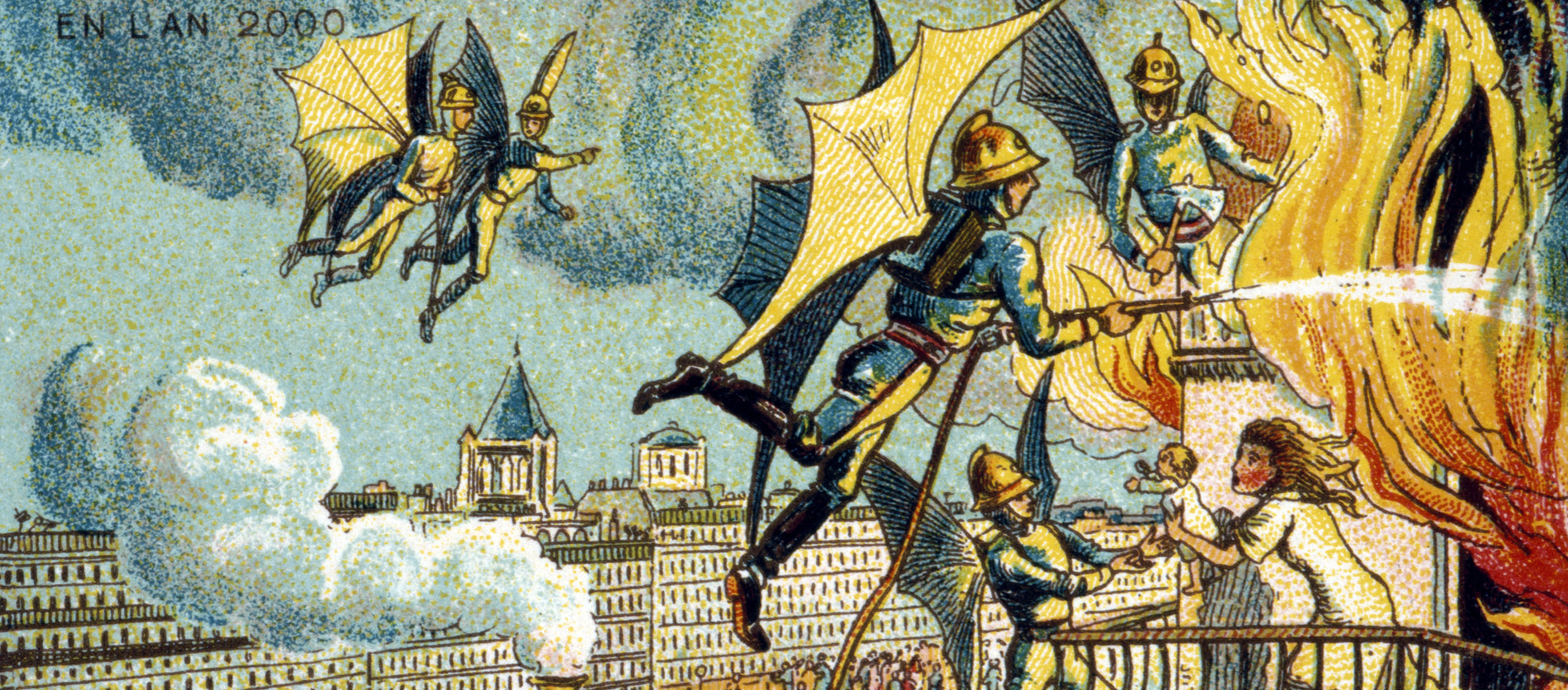 """Flying Fireman,"" color lithograph from the series Visions of the Year 2000, by Jean-Marc Côté, 1899."