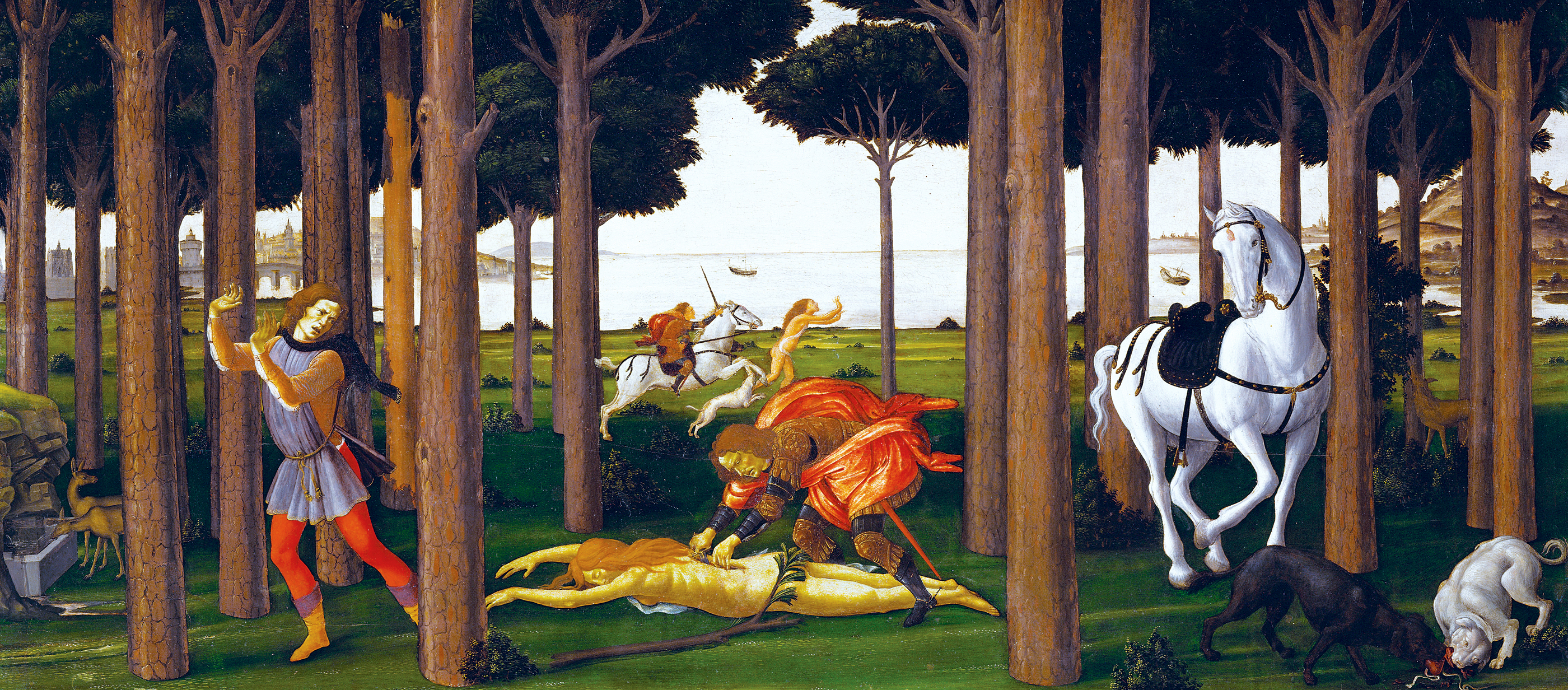 Story of Nastagio degli Onesti, second panel, by Sandro Botticelli, c.1483, based on Boccaccio's Decameron. Prado Museum, Madrid, Spain.