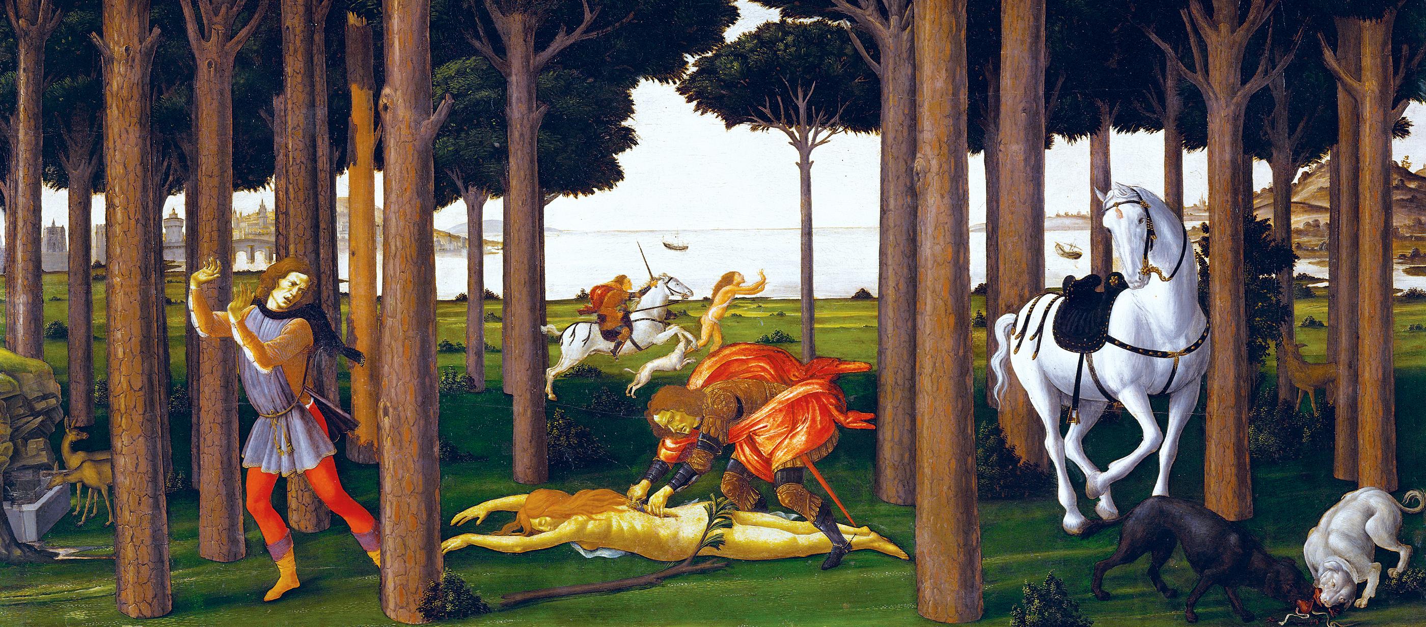 Story of Nastagio degli Onesti, second panel, by Sandro Botticelli, c.1483, based on Boccaccio's Decameron. Prado Museum, Madrid, Spain.