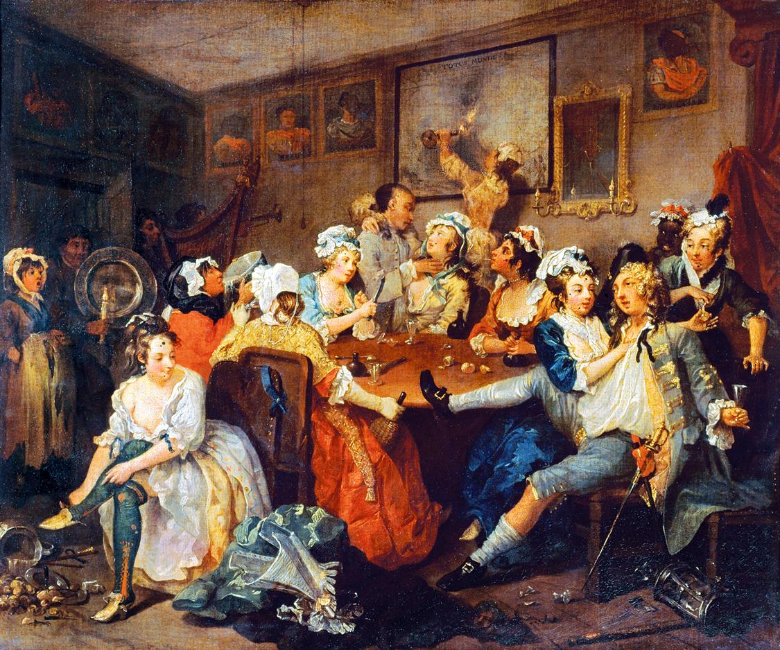 The Orgy, or The Tavern Scene, from A Rake's Progress, by William Hogarth, 1734. Sir John Soane's Museum, London, England.