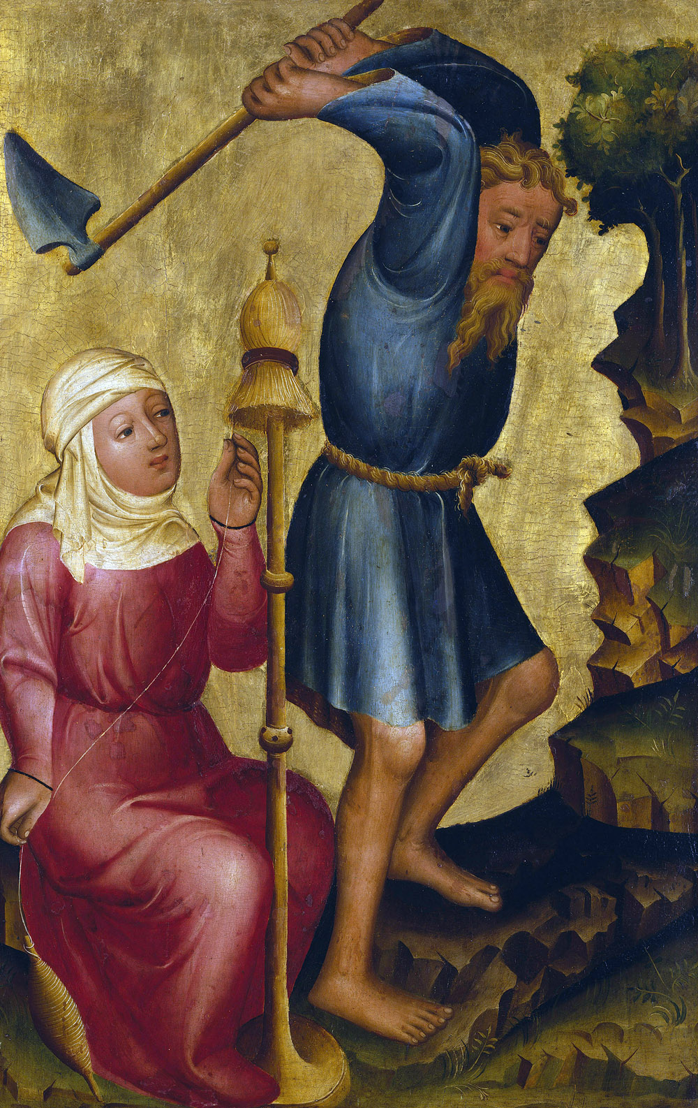 The labors of Adam and Eve, from the Grabow Altarpiece, by Master Bertram of Minden, c. 1381. Kunsthalle Hamburg, Germany.