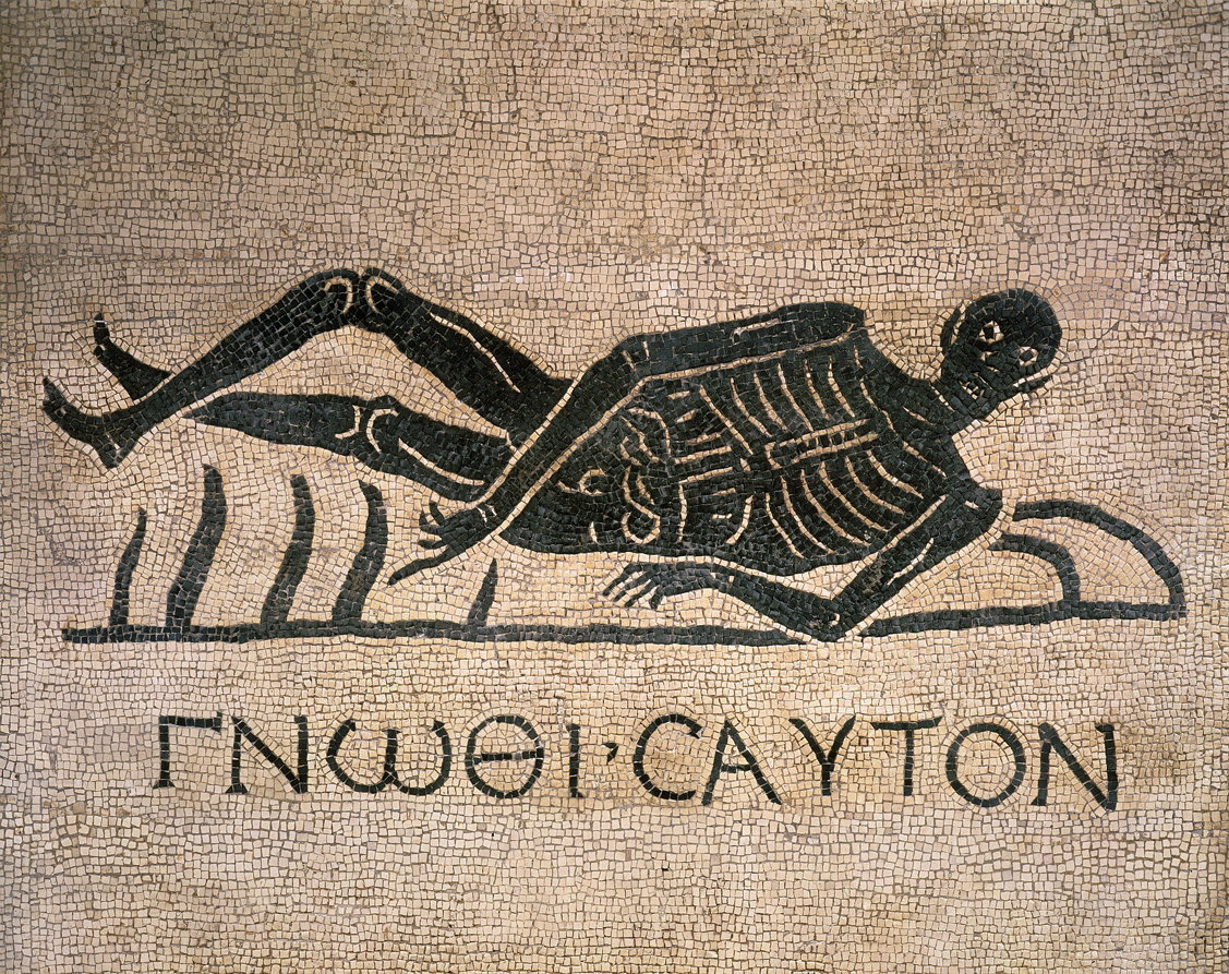 """Corpse pointing to aphorism in Greek meaning """"Know thyself,"""" mosaic from Convent of St. Gregory, Rome, fourth century."""