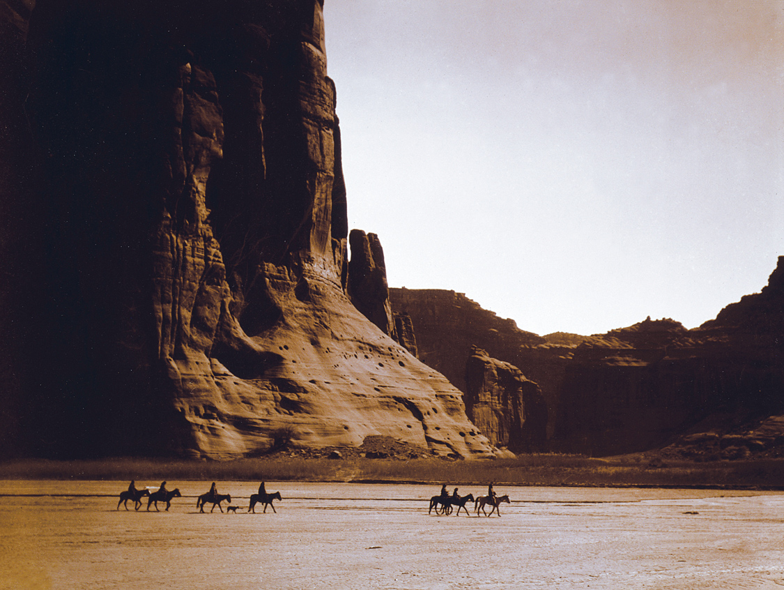 """""""Navajo Indians in the Canyon de Chelly,"""" c. 1904. Photograph by Edward S. Curtis. Library of Congress Prints and Photographs Division Washington, D.C."""