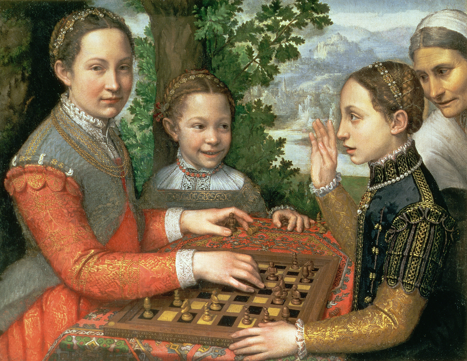 Renaissance painting of three sisters playing chess.